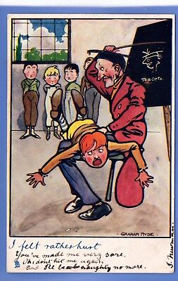 Graham Hyde Signed 1904 Tuck Postcard Teacher Spanking Young Boy With A Cane