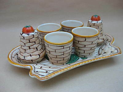 Vintage Ceramic Egg Cups & Cruets on Stand ~Basket Weave ~ English, Hand Painted