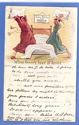 Cynicus Artist Signed 1903 Postcard When There's Love At Home Pillow Fight