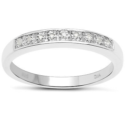 STERLING SILVER DIAMOND CHANNEL SET ETERNITY RING SIZE H W ANNIVERSARY GIFT