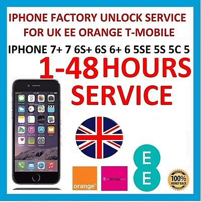 UNLOCK SERVICE FOR Apple iPhone 7+ 7 6S+ 6S 6 5S 5 5SE 4S UK EE ORANGE T-MOBILE