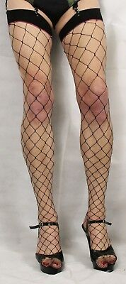 2 Pairs Black Fence Net/Whale Net Fishnet Toe One Size Stockings Nylon/Lycra