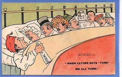 Old Vintage 1903 Comic Postcard Eight In Bed When Father Says Turn We All Turn