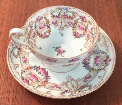 Antique Dresden Germany Hand Painted Floral Teacup & Saucer