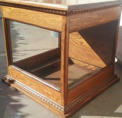 Rare Antique Oak & Glass enclosed cube Display Case rear Door Ornate Trim Work