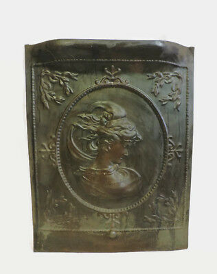 Antique Tin Ornate Fireplace Cover Door Woman Figural Goddess Profile