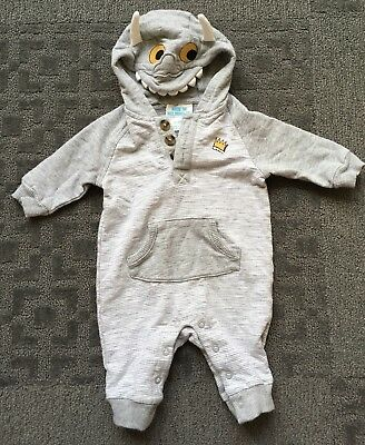 WHERE THE WILD THINGS ARE Baby Boy Girl One Piece Hoodie Outfit 0-3 Months Gray