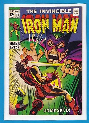 """Invincible Iron Man #11_March 1969_Fine+_Mandarin_""""unmasked""""_Silver Age Marvel!"""