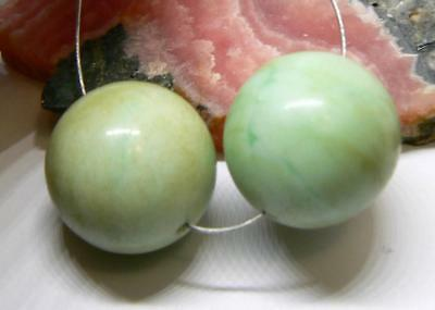 2 NATURAL UNTREATED APPLE GREEN AUSTRALIAN CHRYSOPRASE ROUND BEADS 16mm 57cts