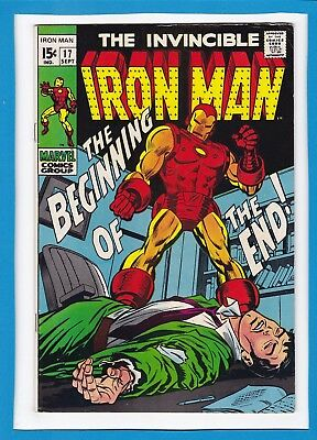 """Invincible Iron Man #17_Sept 1969_Very Fine Minus_""""the Beginning Of The End""""!"""