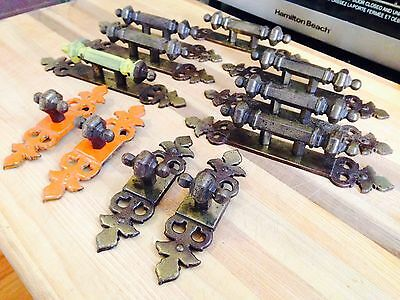 Lot Of 11 Antique Brass Drawer Pulls, Great Character And Patina