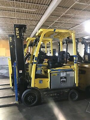 (2) 2013 Hyster EX50XN Electric Forklift Trucks & Battery, Great Condition