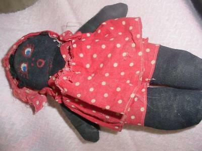 Black Rag Baby--Very Well Loved--9 Inches.hand Sewn