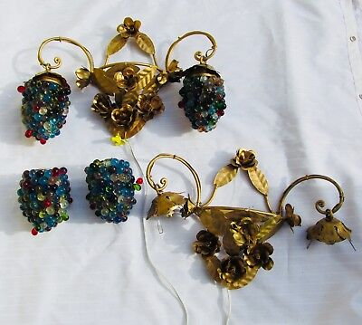 Vintage Murano Italian Art Glass Grape cluster sconces, pair
