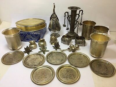Vintage Eastern Silver Plate Joblot Pots Dishes Gods Offering Display Collection