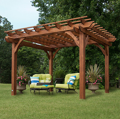 Free Standing Pergola 10 X 12 Gazebo Kit Backyard Patio Canopy Outdoor Shade