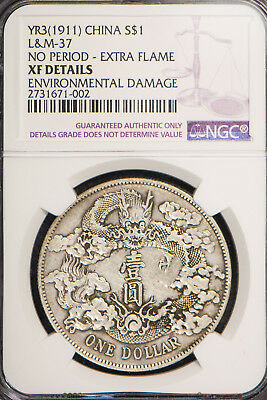 Yr3 (1911) China Silver Dollar - No Period - Extra Flame - L&m-37 ** Ngc Xf Dets