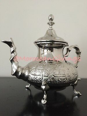 Authentic Moroccan Elegant handcrafted Alpaca Silver Malaki Teapot from Fez