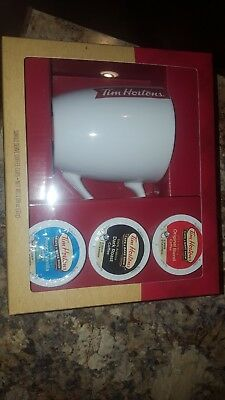 New Tim Hortons 2017 coffee mug Gift Set with 3 single serve coffee cups