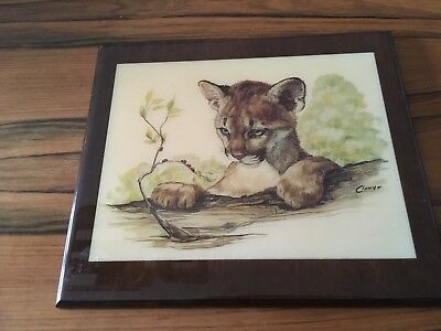 Cougar Puma Cub Wood Plaque Painted Tile on Wood Hand Crafted Signed