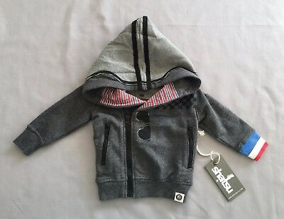 NWT mini shatsu BABY BOYS GREY HOODED ZIPPER JACKET 00 SZ 6 months