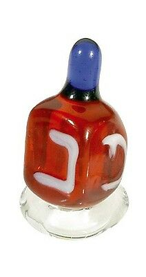 GLASS HANUKKAH DREIDEL WITH STAND - Made in Israel - Jewish Judaica Holiday Gift