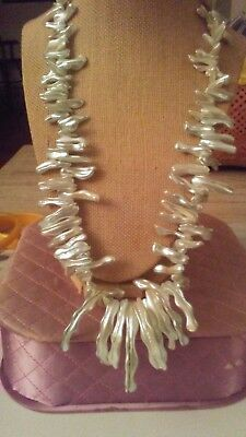 """Vintage Wavy Sea Shell 24"""" Necklace Pearl-White Exotic Estate"""