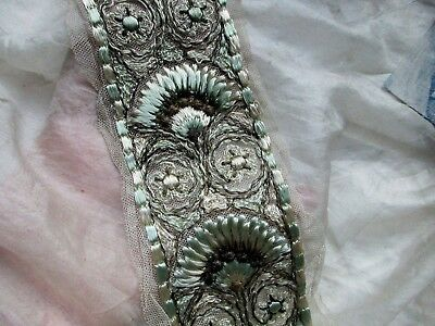 Lovely Antique French Edwardian Dense Embroidery Metal Lace Trim Frg Mint Grn