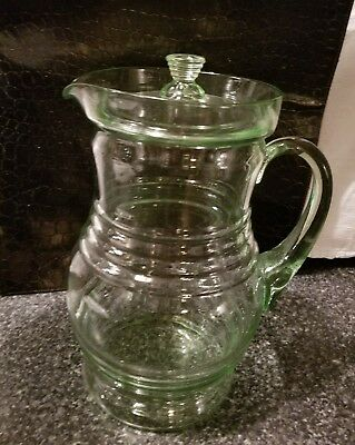 Fabulous Vintage Depression Glass Iced Tea Pitcher With  Lid