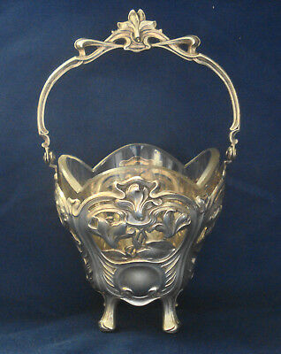 German Hallmarked .800 Silver Floral Decorated Pierced Basket with Glass Liner