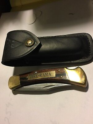 Vintage Buck Knife 110 With Tire Rama Advertisment And Case
