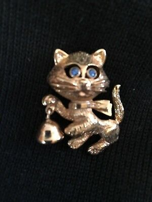 Avon Kitty Cat Pin With Real Bell