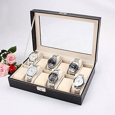 Watch Box Large 12 Slot Black Leather Display Jewelry Store, Home Case Organizer