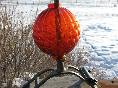 Orange Amber Grape Pattern Lightning Rod Ball