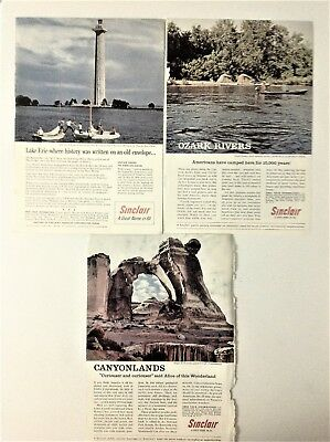 Lot of 3 Sinclair Oil '59 '62 Ads Perry Victory Monument Ozark Rivers Canyonland