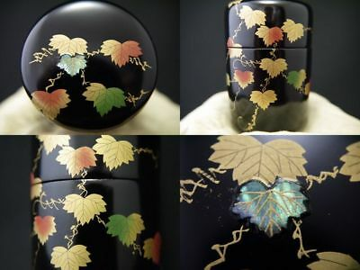 Japanese Traditional Lacquer Wooden Tea Caddy IVY makie Long-Natsume (1201)
