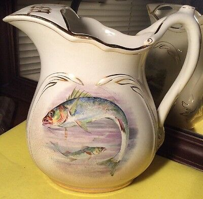 "Antique Semi Porcelain Early Century Harker Pottery Co. Fish, Ducks 10"" Pitcher"