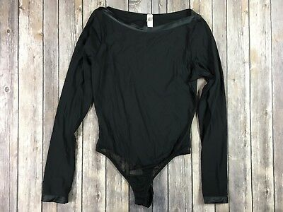 Victorias Secret Black Bodysuit Size Medium Boat Neck Long Sleeve Satin Trim