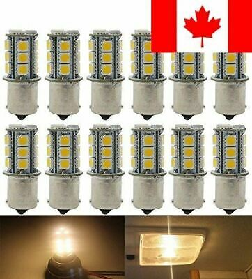 12-Pack 1156 BA15S 7506 1141 1003 1073 Soft Warm White 3000k LED Light 12V-DC...