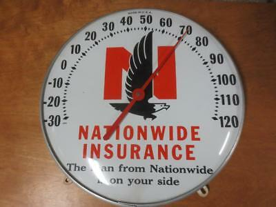 """Vintage NATIONWIDE INSURANCE THERMOMETER - 12"""" Round Glass"""