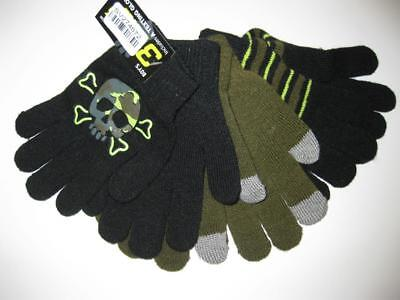 NEW 3 Pack Texting Gloves - Black with Skull Decal, Dark Green, & Stripes  OSFA