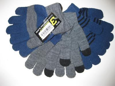 NEW 3 Pack Texting Gloves - Blue, Grey, with Stripes  OSFA