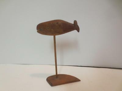 Vintage Whale carving on stand - small - Folk Art