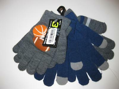 NEW 3 Pack Texting Gloves - Blue, Grey, Stripes with Sport decal OSFA