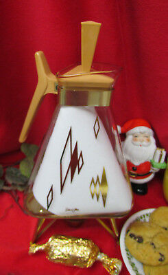 Vtg MidCentury 1960s Inland Glass 12Cp 22k Golden Triangle Carafe Coffee Warmer