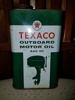 texaco outboard motor oil.Empty 1 quart can-Vintage Dated 1-61