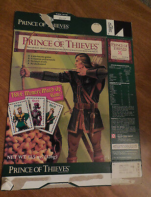 PRINCE of THIEVES Cereal Box  EMPTY RALSTON PURINA Memory Match-Up Game on back