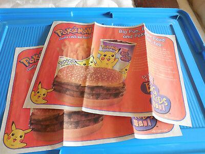 2 Pokemon Burger King Big Kids Meal Paper Tray Liners Placemats 1999