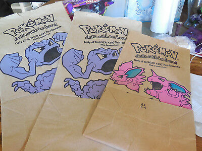 3 Pokemon Burger King Big Kids Meal Paper Bags 1999 Pokeball Used sizes #6 & #12