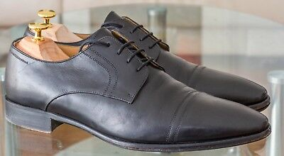 Aquila mens 43 black shoes - leather sole Blake Stitch Construction, derby style